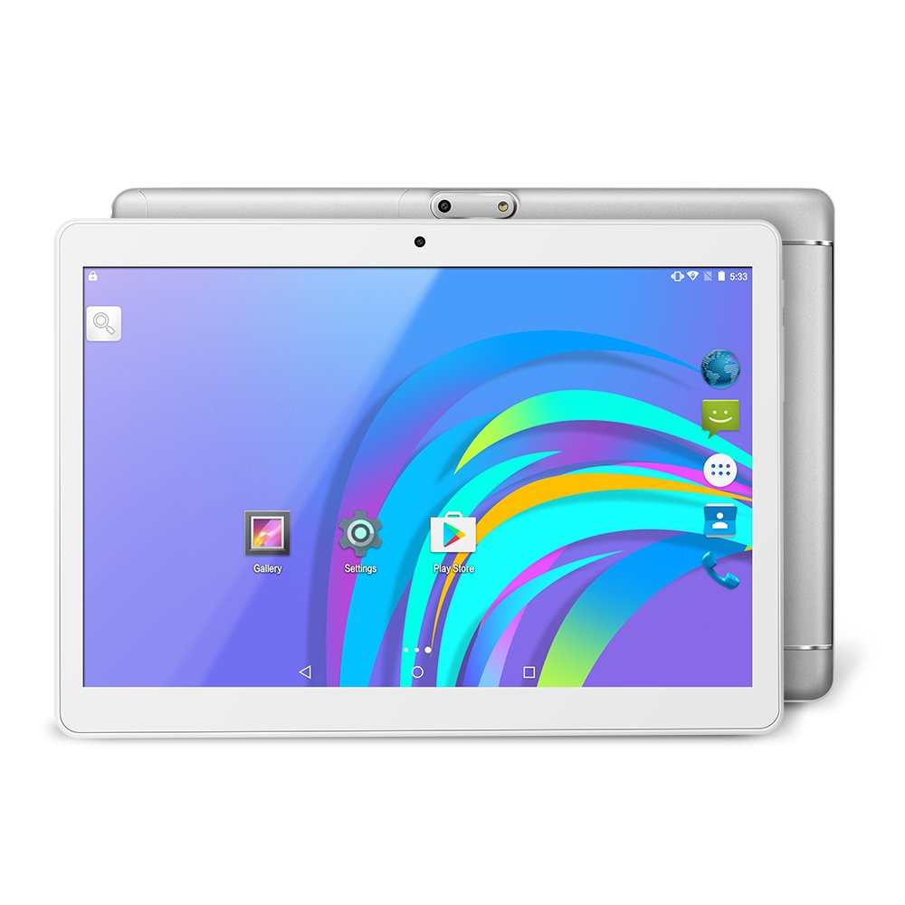 Yuntab K98 9.6 inch Tablet 1GB+16GB MT6580 A7 Quad-Core IPS Screen 800x1280 Dual camera Cell phone Support 2G 3G Wifi Dual SIM Card Bluetooth Android 5.1 Google Unlocked 3G Phone Tablet PC (Silver)