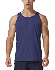 Men's Dry Fit Athletic Tank Top, Crew Neck Sleeveless Workout Shirts
