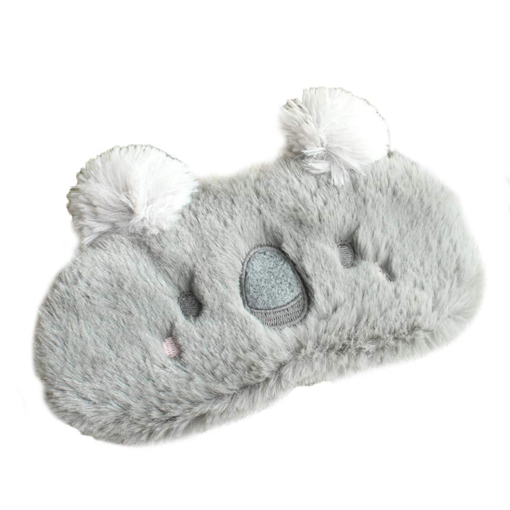 Gespout Masque pour les Yeux Réglable Masques de Sommeil Dessin Animé Peluche Conception de Koala Gris Respirant Masque de Couchage Dormir Sieste Voyage Occlusion Yeux Masque Enfant Adulte Unisexe