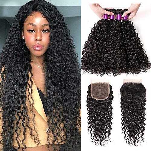 - BEAUFOX Brazilian Hair Water Wave Virgin Hair 3 Bundles with Closure Brazilian Virgin Human Hair Extensions Brazilian Hair Weave Bundles Free Part Closure Wet and Wavy Bundles Natural Color