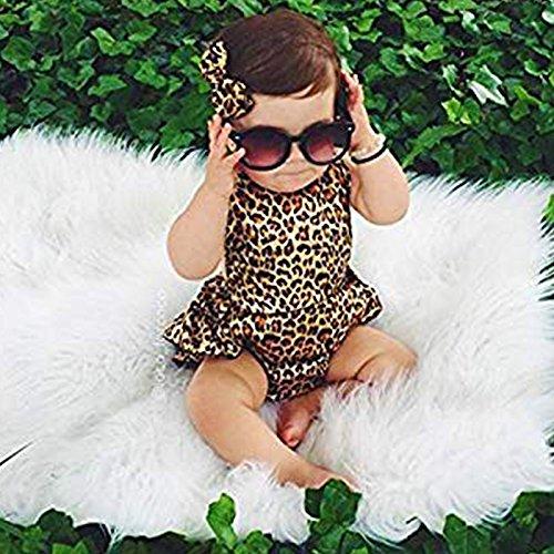 0-6 mois SODIAL Bebe Filles Enfant Licou Barboteuse en dentelle Leopard Dos Nu Robe Combinaison