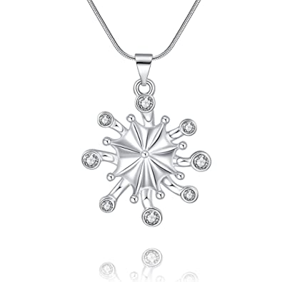 9c58e0325f Snowflake Necklace Pendant with Swarovski Elements Crystal Christmas Gifts  for Mom Women Girls(White)