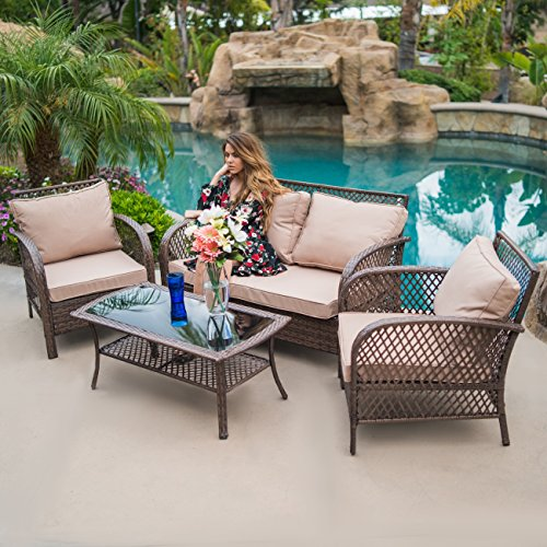 Belleze 4PC Outdoor Patio Furniture Set UV Wicker Deep Seating Cushion Seat Backrest Chair Sofa w/Coffee Table, Brown -