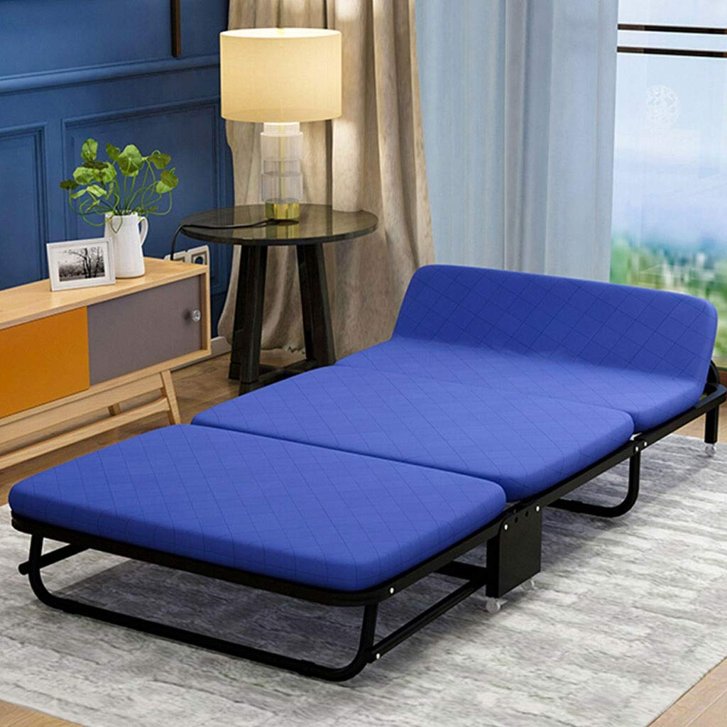 WXF Einfaches Faltendes Einzelbett, Tragbares Hauptschläfchen-Bett mit Rollen-Büro-Bett-Schwamm-Bett-dreifachem Sofabett (Color : Blue, Size : 90cm)