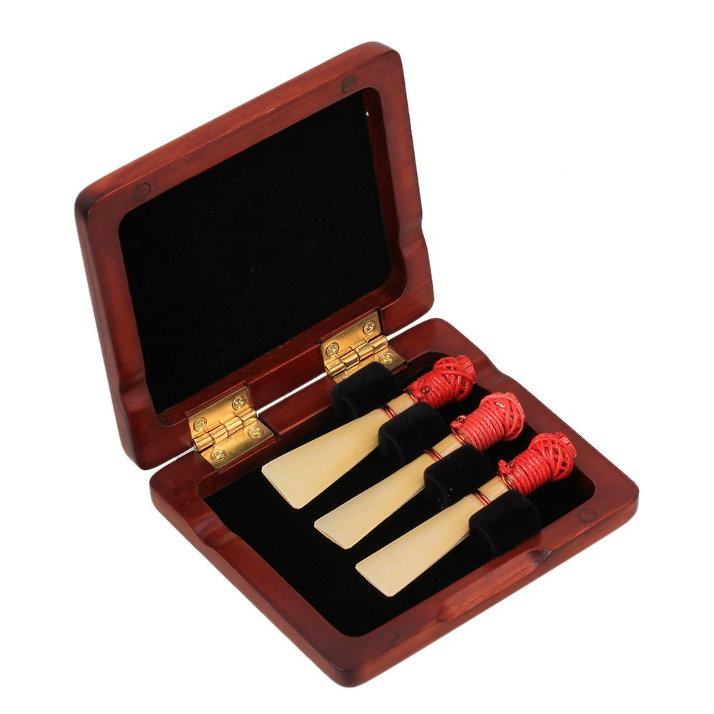 WEONE Wooden Bassoon Reed Case Holds 3PCS Reeds Protector With Soft Velvet Dark Red