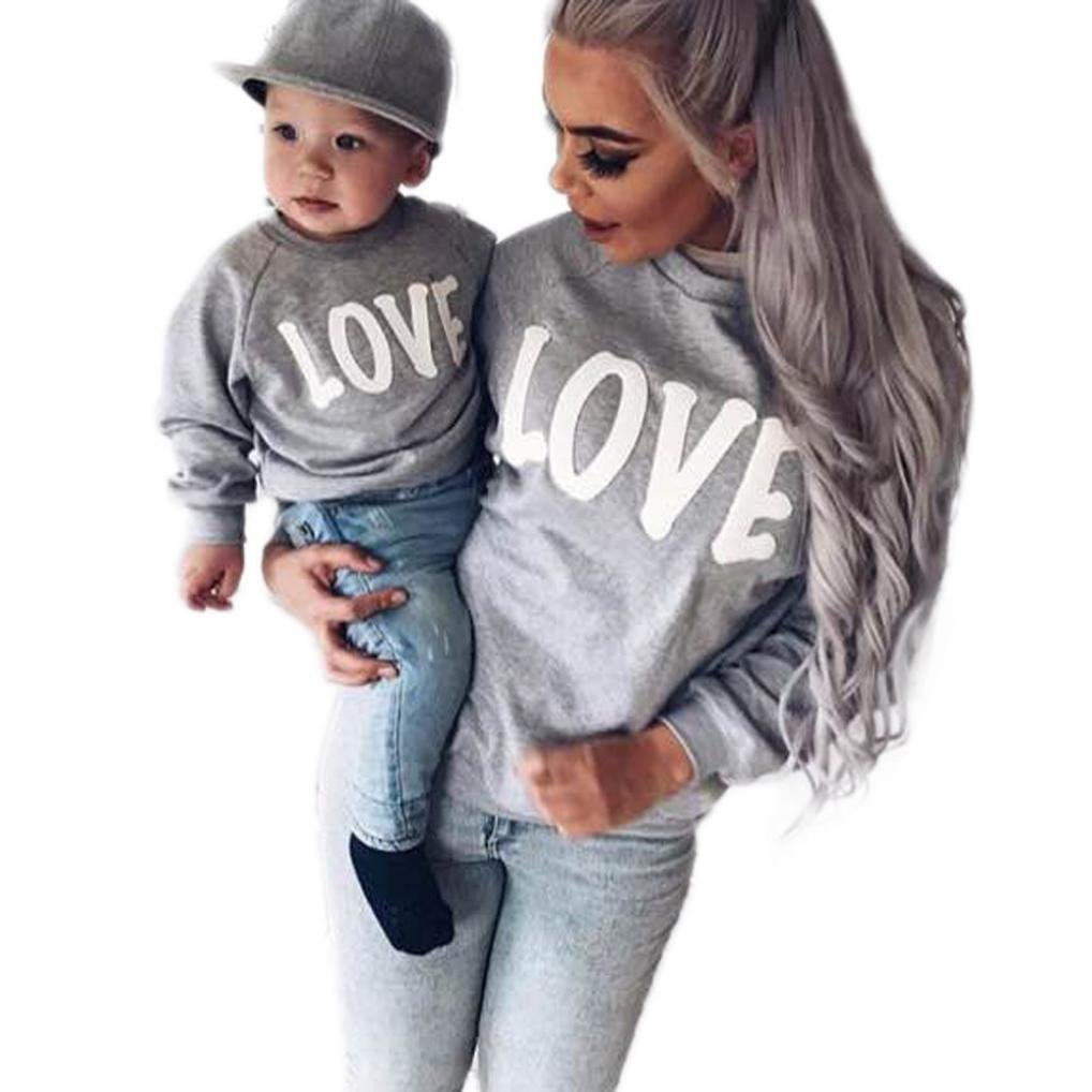 , XS Raptop Mother/&Me Daughter Dad Baby Girls Love Letter Tshirt Tops Blouse Family Sweater Gift Set Black Dad