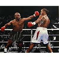 $307 » Mike Tyson/Lennox Lewis Signed Tyson Missing Punch 16x20 Photo- W Auth *Slvr - JSA Certified - Autographed Boxing Photos