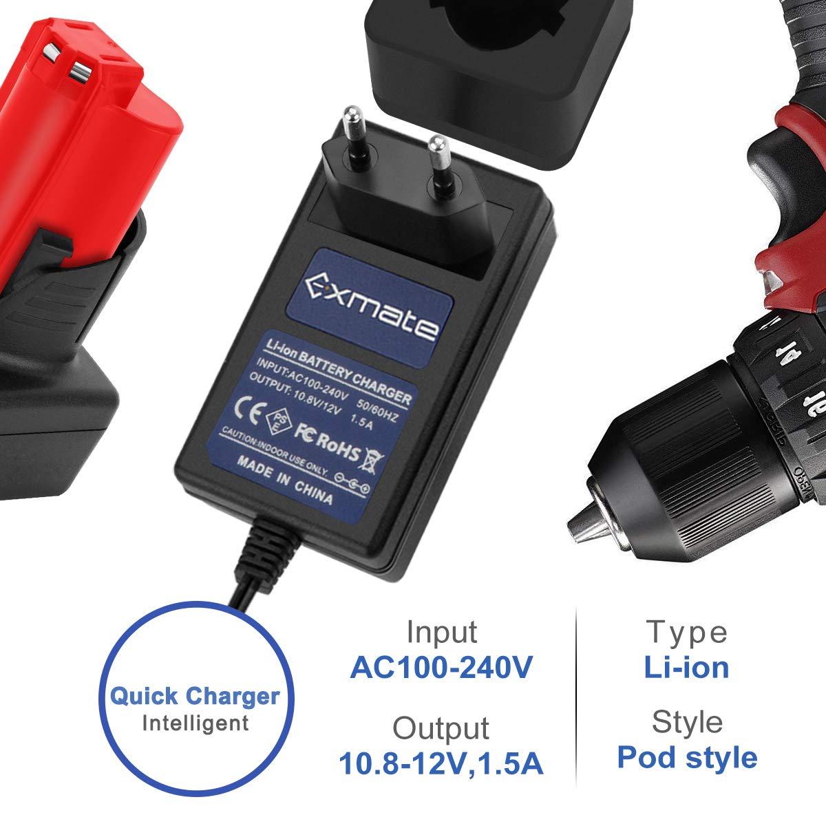 Exmate 12V Cargador Compatible con Milwaukee M12 Bater/ía de Litio No para Ni-MH//Ni-Cd Bater/ía