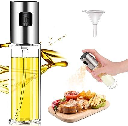 Senza BPA Nebulizzatore Olio LUOWAN Spruzzatore di Olio Vetro Dispenser Spruzzatore di Olio//Aceto//Olive Oil Portatile con 2 Pennelli per Pasta//Insalata//Padella//Griglia//Barbecue