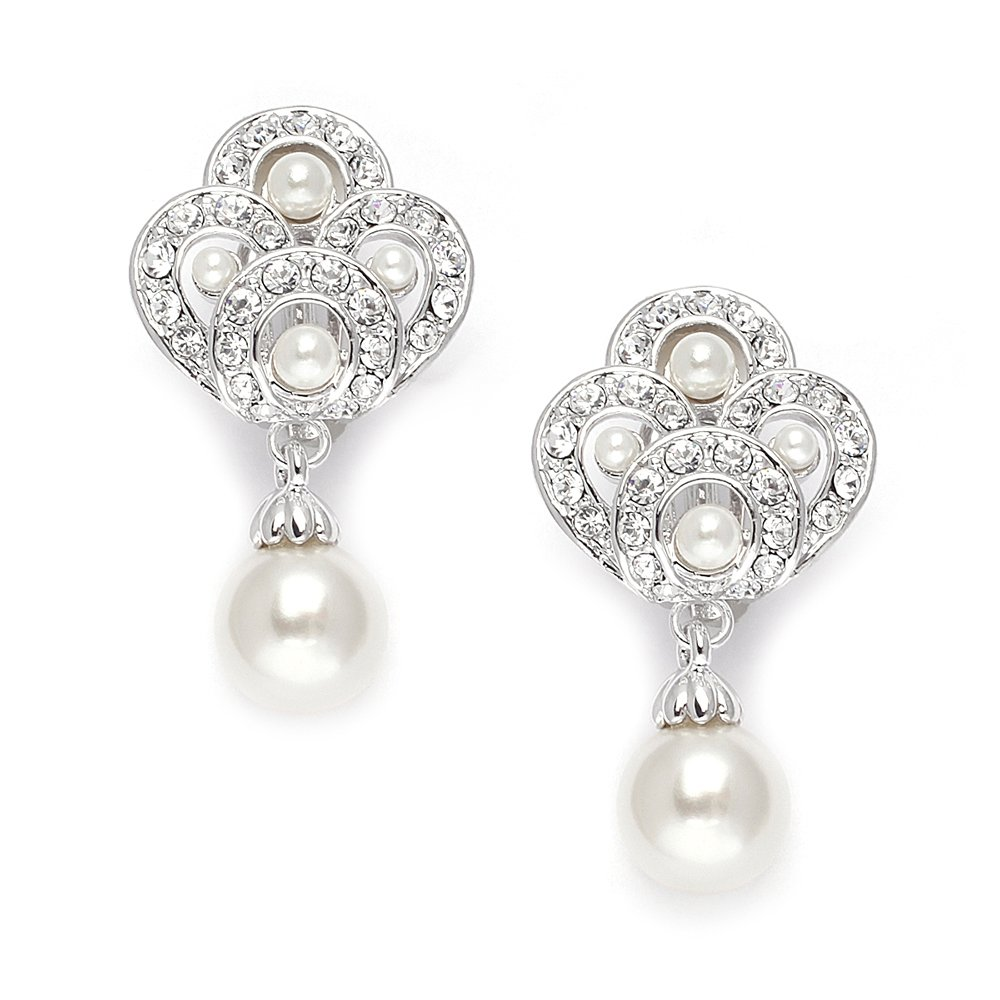 Mariell Vintage Art Deco Pearl Drop Clip On Earrings for Weddings - Nonpierced CZ Bridal Clip Ons