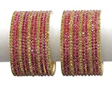 MUCH MORE Diamond Look Set of 26 Bangles Women Wedding (Hot Pink) (2.8)