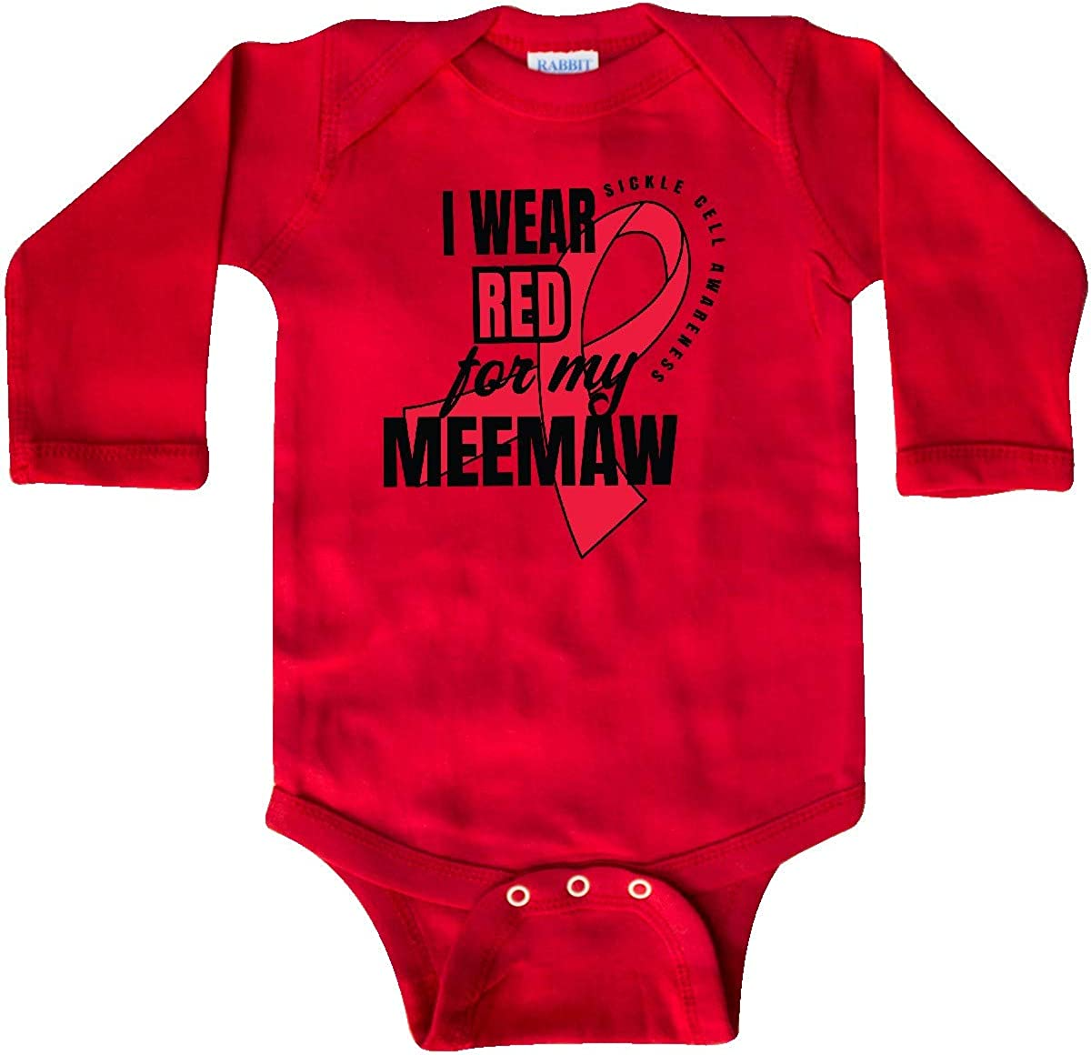 inktastic Sickle Cell Awareness I Wear Red for My Meemaw Long Sleeve Creeper