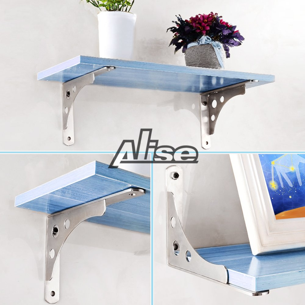 Alise 1 Pair Stainless Steel Heavy Duty Shelf Bracket Corner Brace Support Fastener 14 Inch Wall Hanging,J5814-2P Brushed Finish