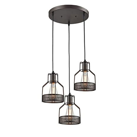 Truelite industrial 3 light dining room pendant rustic oil rubbed bronze wire cage hanging