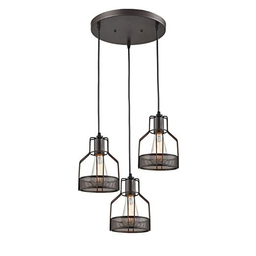 new concept dfc9a dee73 Truelite Industrial 3 Light Dining Room Pendant Rustic Oil Rubbed Bronze  Wire Cage Hanging Light Fixture