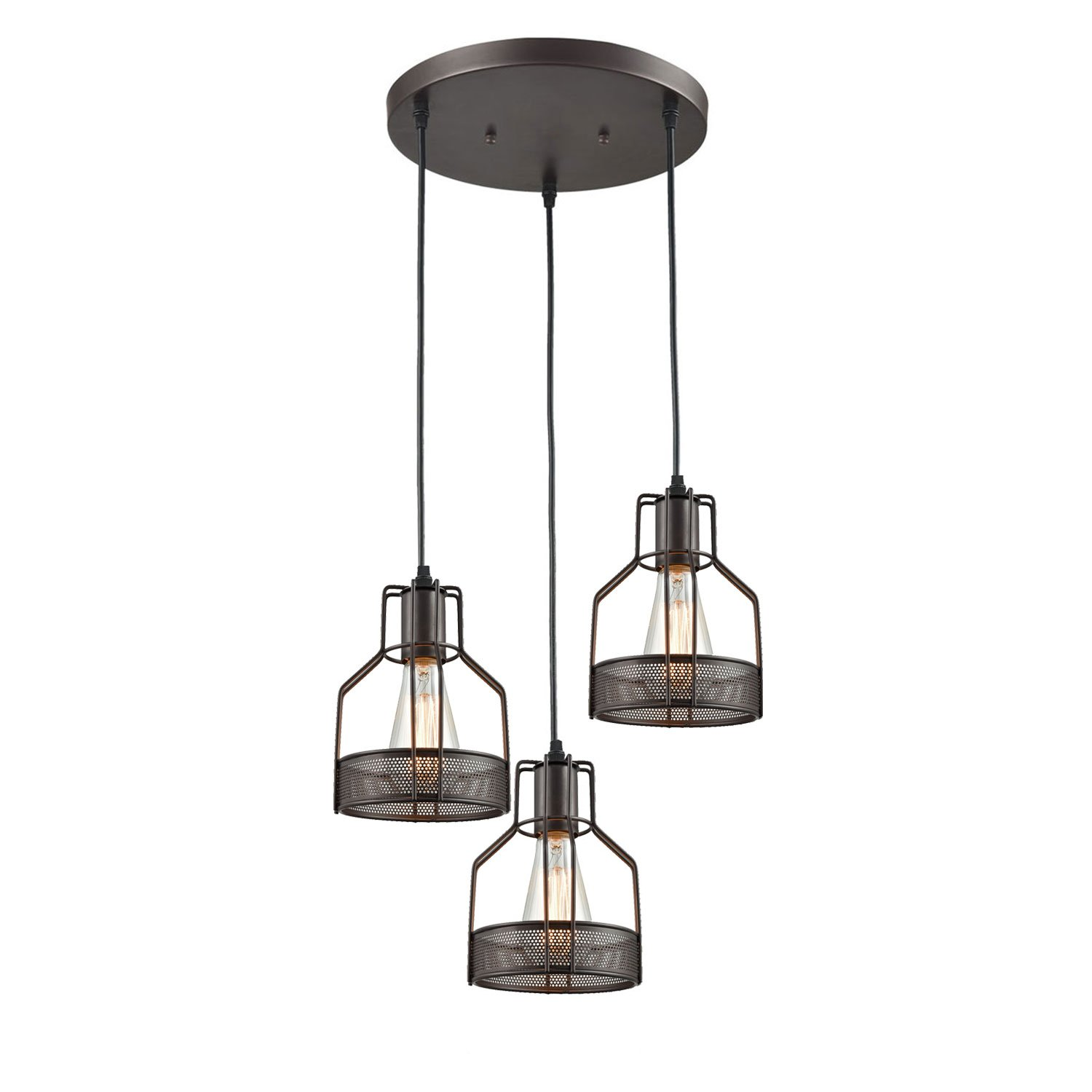 Truelite Industrial 3-Light Dining Room Pendant Rustic Oil-rubbed Bronze Wire Cage Hanging Light Fixture