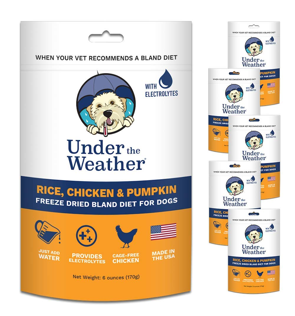 Under the Weather Pets | Rice, Chicken, Pumpkin 6 Pack | Easy to Digest Bland Dog Food Diet for Sick Dogs Sensitive Stomach - Electrolytes, Gluten Free, All Natural, Freeze Dried 100% Human Grade Meat by Under the Weather