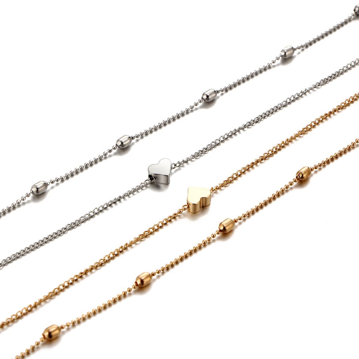 Anqifull Dainty Layered Gold Chocker Handmade Beads Fill Heart White Opal Necklace for Women Girls 012 by Anqifull (Image #5)