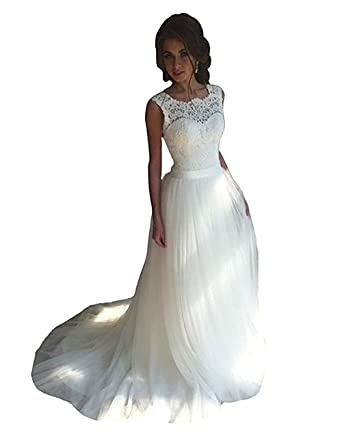 YuNuo Wedding Dresses Tulle Lace Simple Long Bride Gowns Wedding ...
