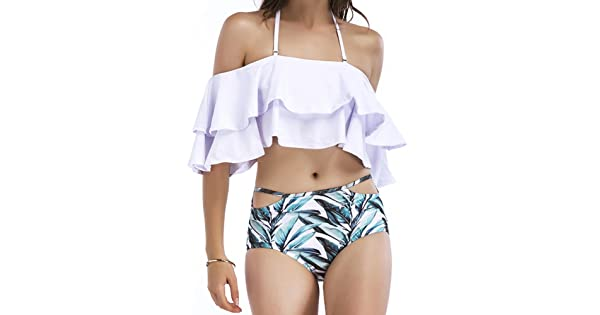 18100f823a023 SWISSWELL Two Piece Women's Halter Off The Shoulder Flounce Swimsuits High  Waisted Bikini Sets White S(US 4-6)