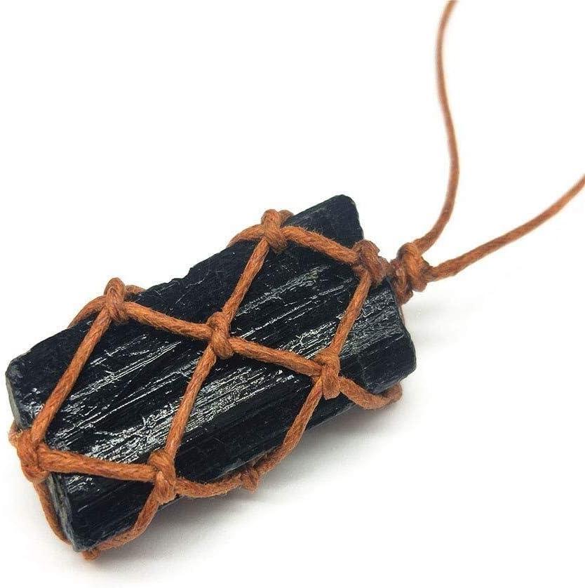 Simshew Sencillo Collar Piedra áspera Collar de turmalina Negra Natural Colgante de Piedras Preciosas Retro Piedra de Cristal Tejida a Mano