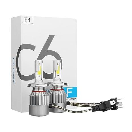 Kid de dos bombillas led para coche o moto, COB H4 C6 7600LM 36W 6000K, luz blanca: Amazon.es: Coche y moto