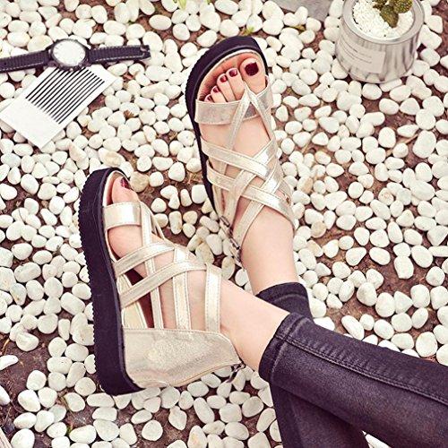 Damen Flip Flops, SHOBDW Damen Sommer Sandalen Schuhe Peep-Toe Low Schuhe Römische Sandalen Damen Flip Flops Gold
