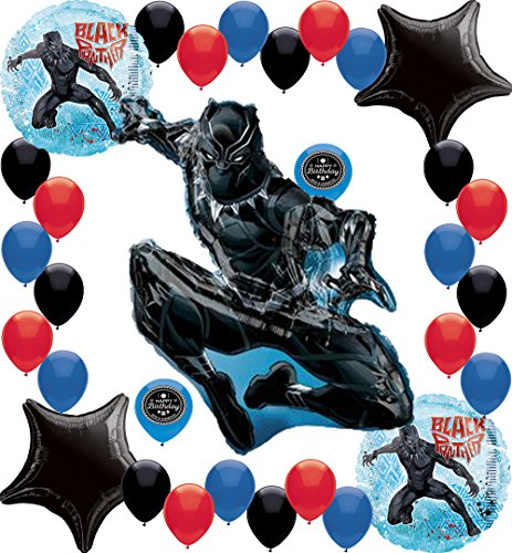Black Panther In Action Birthday Party Supplies Big Super Shape XL Balloon Decoration Bundle