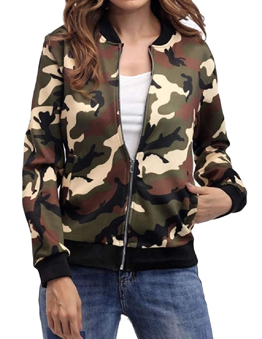 Vska Womens Zip Stylish Camouflage Pocketed Patchwork Leisure Outwear Coat