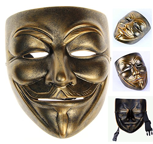 Gmasking Bronze Resin V for Vendetta Guy Fawkes Anonymous Mask+Gmask Keychain ()
