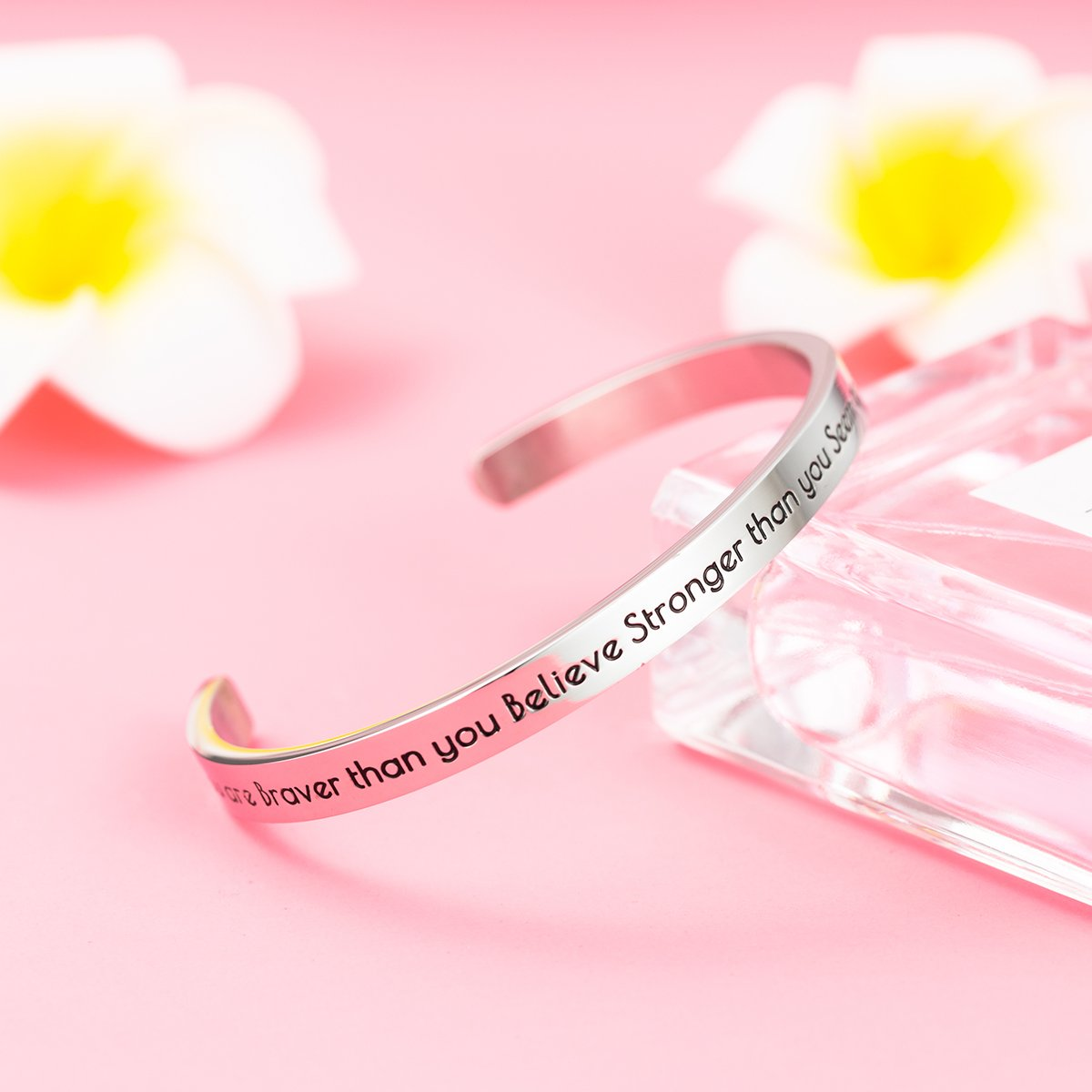 Cuff Bangle for Her Stpower Inspirational Bracelet You are Braver than you Believe Stronger than you Seem..