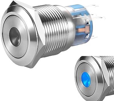 NC 12V 24V 16mm LED Iluminado momentáneo de encendido//apagado//interruptor de botón de enganche NO