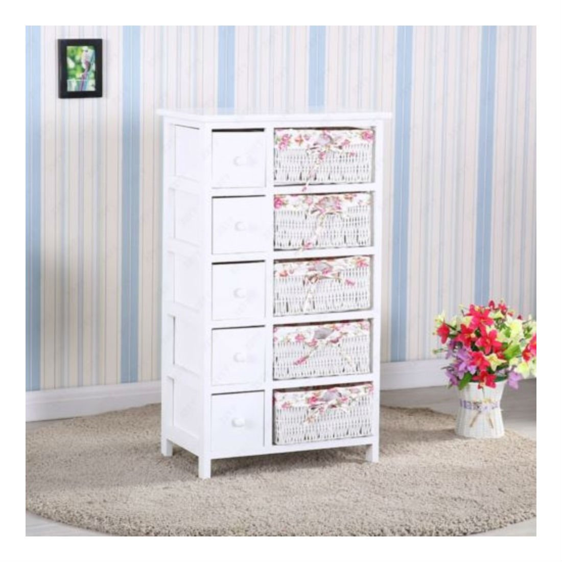 White Rustic Chest Of Drawers Wooden Storages Wicker