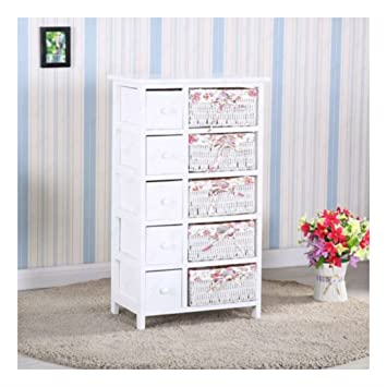 Amazon.com: Bedroom Storage Dresser 5 Drawers with Wicker Baskets ...
