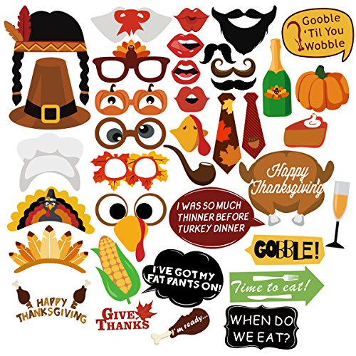 UNOMOR Thanksgiving Day Photo Booth Props, 38 PCS Happy Thanksgiving Photo Booth Props Decorations, Happy Thanksgiving Party Favor