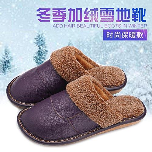 Chaussons laine hiver intérieur séjour parquet chaleureux et les hommes et les femmes, épais, des chaussons 27 (39-40), Wine red