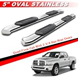 "Mifeier 5"" Oval Bent Nerf Bars Side Step Running Boards For 02-08 Dodge Ram 1500 03-09 2500/3500 Quad/Crew Cab With 2 3/4 Size Rear Doors"