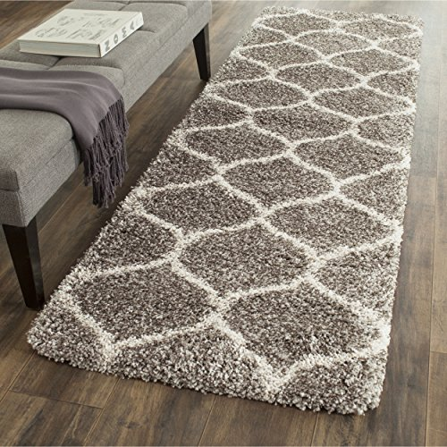 Traditional Machine Made Rug (Safavieh Hudson Shag Collection SGH280B Grey and Ivory Moroccan Ogee Plush Runner (2'3