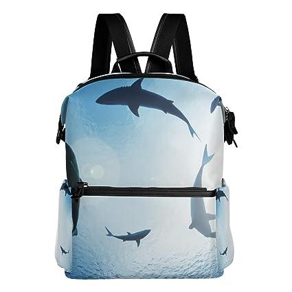 TIZORAX Mochila Escolar de Tiburones con círculos, Mochila Escolar, Mochilas universitarias, Bolsas para