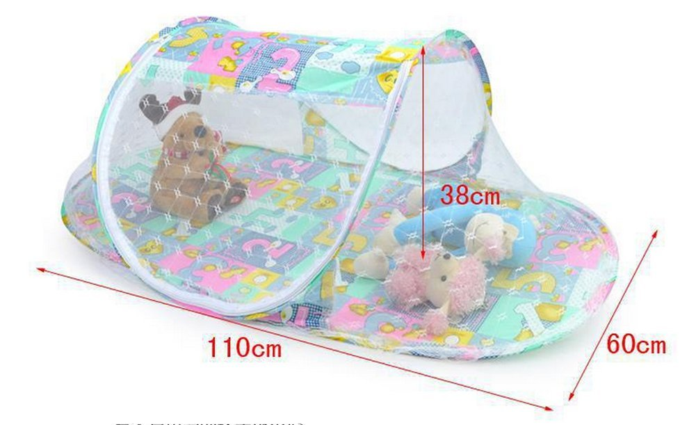 MOMONY Baby Mosquito Net, Portable Infant Ttravel Crib Cot Foldable Cradle Bed Outdoor Home Use for 0-12 Month Baby, 110*60*38cm