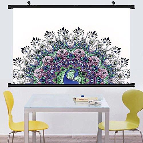 Gzhihine Wall Scroll Peacock Mandala Decor Boho Art Pattern