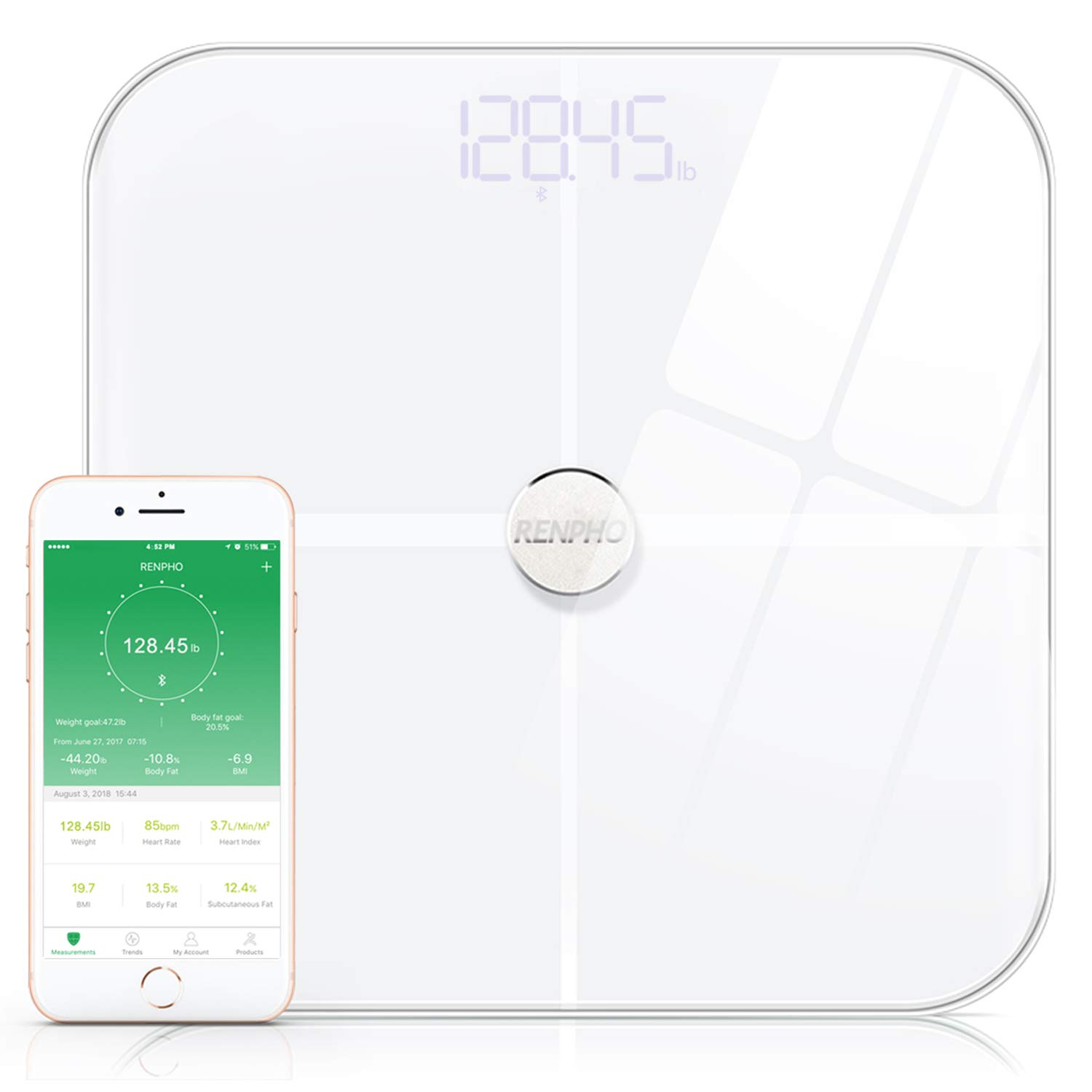 RENPHO Premium Smart Heart Rate Body Fat Scale Body Analyzer Monitor with 15 Essential Body Composition Measurement, Bluetooth Digital Weight BMI Bathroom Scale with App, 396 lbs White by RENPHO