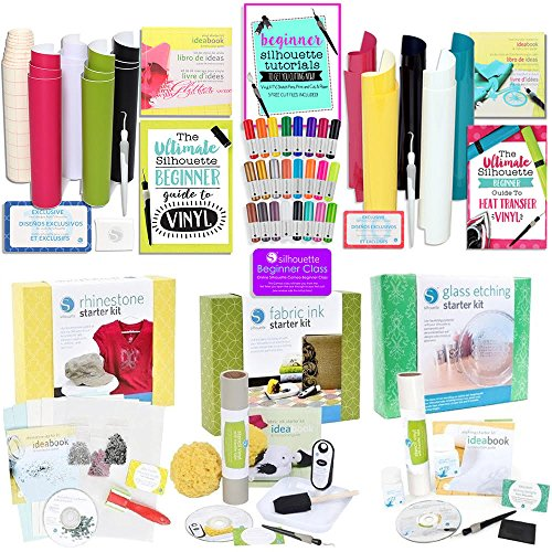Silhouette CAMEO 3 Starter Kit Bundle with 5 Kits, 24 Sketch Pens, and Project Guide
