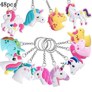 Hossom Unicornio Llavero (48pcs) Unicornio Keyring para piñata, Fiesta Unicornio, Artículos de Fiesta de cumpleaños Regalo para Niños niñas