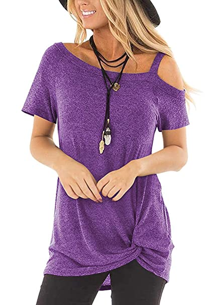 f62bcbeda6d Image Unavailable. Image not available for. Color  Womens Summer Cold  Shoulder T Shirts Casual Short Sleeve ...
