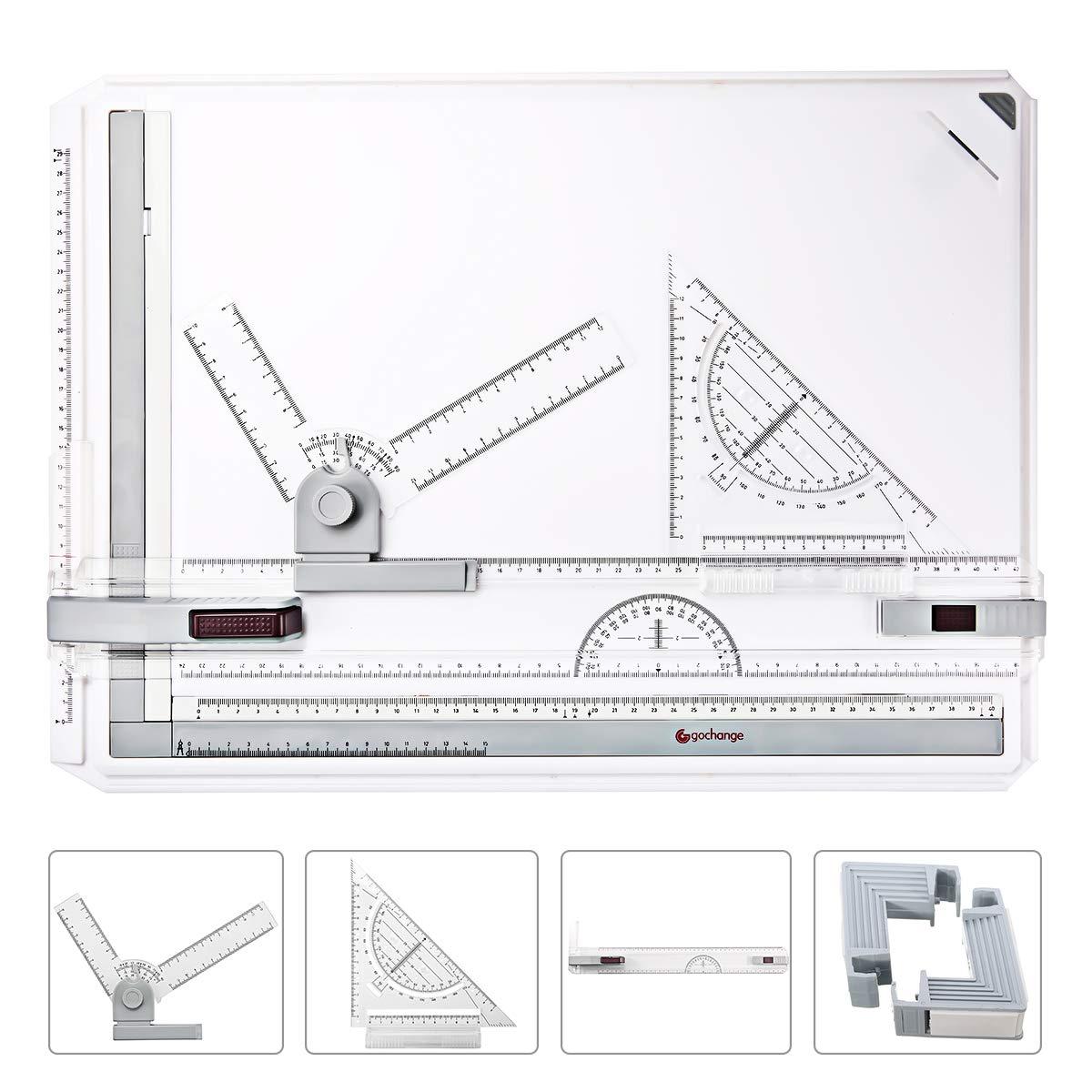 A3 Disegno Bordo GOCHANGE 50 x 36, 5 Centimetri Tavolo da Disegno Con Movimento Parallelo e Angolazione Regolabile Loprtec_IT
