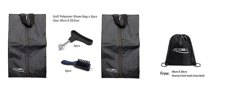 POSMA SB020ゴルフ実用靴バッグ2個入りスパイクレンチとウェッジクリーナークリーニングブラシ、キャリーバッグ   B07H2SWNTF