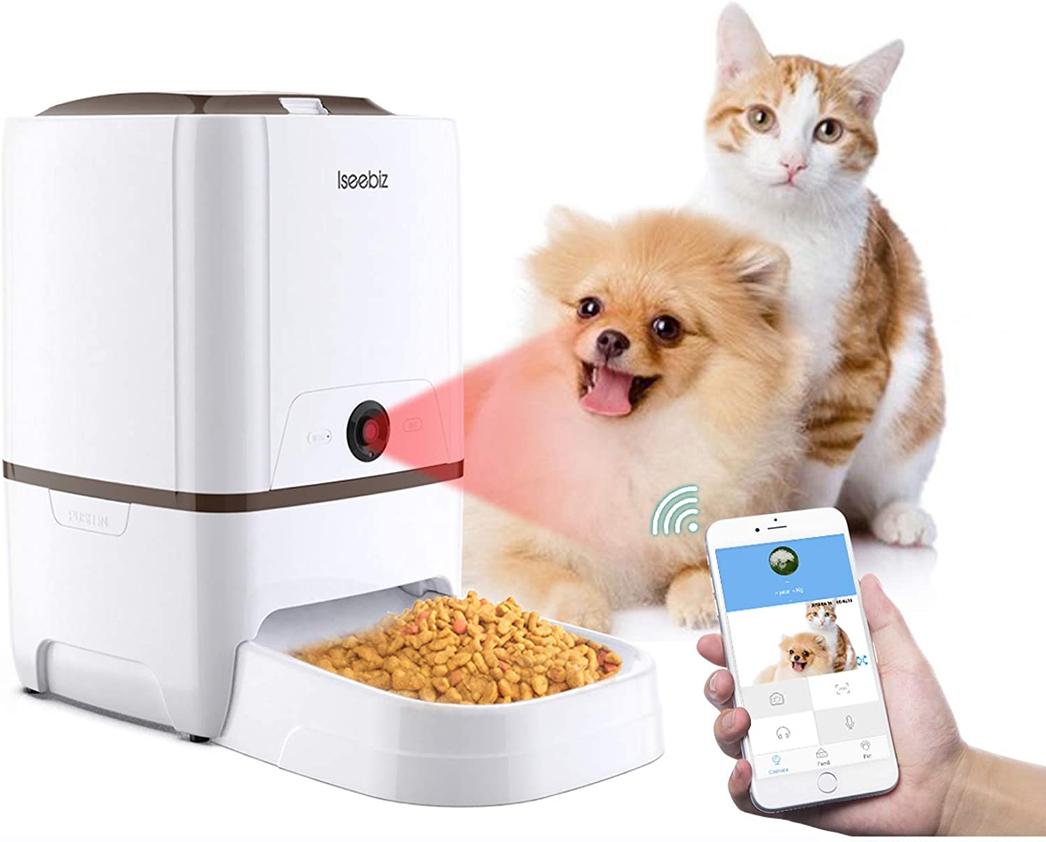 Iseebiz Automatic Pet Feeder with Camera, App Control Smart Feeder Cat Dog Food Dispenser, 2-Way Audio, Voice Remind, Video Record, 6 Meals a Day for Medium Large Cats Dogs, Compatible with Alexa