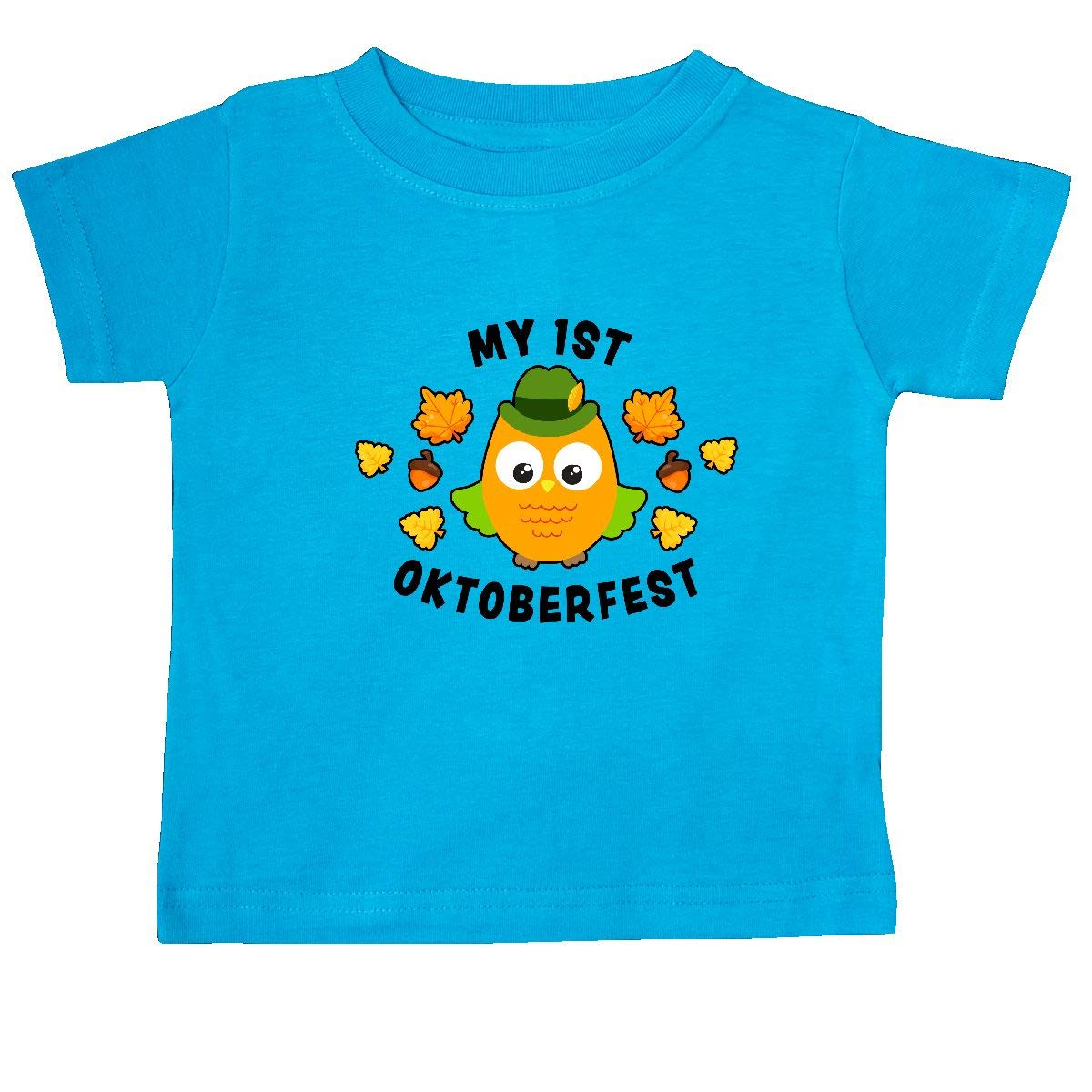 inktastic My 1st Oktoberfest with Owl and Leaves Baby T-Shirt