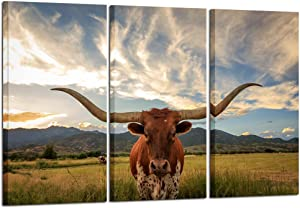 Kreative Arts - Large Modern Canvas Wall Art for Home and Office Decoration Animal Pictures Print Art on Canvas Texas Longhorn Canvas Prints Giclee Artwork for Wall